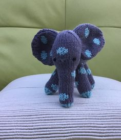 Ernie the spotted elephant Hand knitted and by Incywincybabyknits