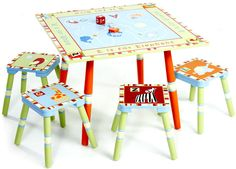 Alphabet Soup Board Game Table with 4 Stools Set - Handcrafted Wooden CoCaLo Baby Table Set - UPS® Free Shipping - $299.95