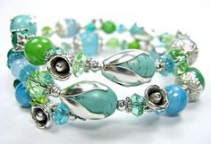 OOAK bracelet in stone glass and lampwork one size. by MadeByKirk, $26.00