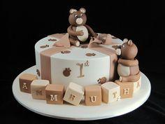 fondant baby bears birthday cake Inspired By Michelle Cake Designs 1st Birthday Cake Designs, 1st Birthday Cake For Girls, Alphabet Cake, Easy Cake Decorating, Decorating Ideas, Cakes For Boys, Cake Kids, Novelty Cakes, Girl Cakes