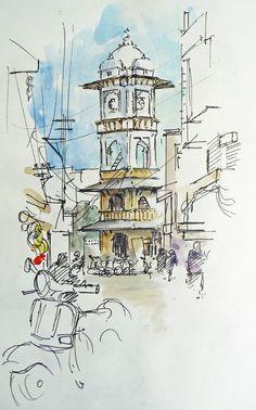 pen and wash illustration urban landscapes - Google Search