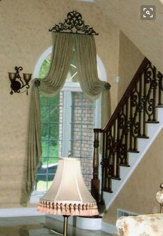 Window Treatments Create this look for your arched window with the Servena Window Crown and post tie Arched Window Treatments, Arched Windows, Rideaux Design, Drapery Designs, Drapery Ideas, Cama Box, Interior Decorating, Interior Design, Window Styles
