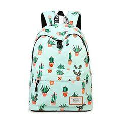 Joymoze Fashion Leisure Backpack for Girls Teenage School Backpack Women Print Backpack Purse Cactus.