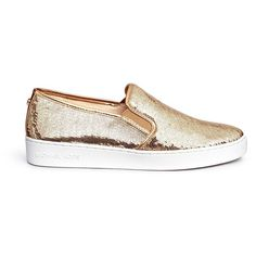 Michael Kors 'Keaton' sequin skate slip-ons (565 PEN) ❤ liked on Polyvore featuring shoes, sneakers, metallic, michael kors, slip on sneakers, metallic shoes, metallic slip-on sneakers and slip-on shoes