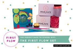 The First Flow Set from Dot Girl and Dear Kate - slip a period pack into her backpack for Back to School!