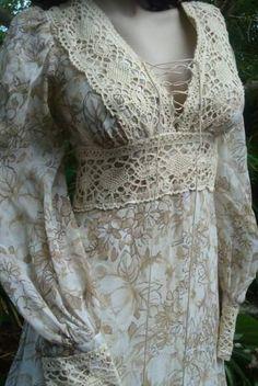 Gunne Sax Vintage Victorian Crochet Maxi Dress