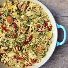 Mediterranean Pasta with chicken, sundries tomatoes, artichoke hearts and capers