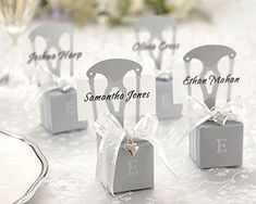 Monogrammed Mini Silver Chair Favor Box Decorated With Heart Charm and Ribbon