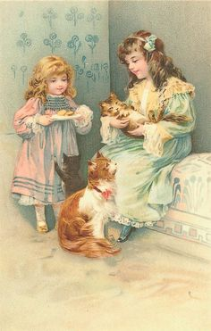 Victorian girls with cats