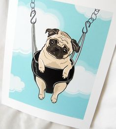 Pug Pictures And Prints | Swinging Pug 7x9 Ecofriendly Print by AfricanGrey on Etsy