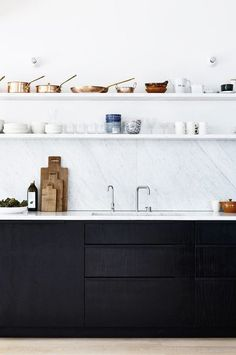zen and the art of cooking. marble kitchen countertops and backsplash and open shelves with black cabinets below / sfgirlbybay zen and the art of cooking. marble kitchen countertops and backsplash and open shelves with black cabinets below / sfgirlbybay Küchen Design, Home Design, Design Ideas, Design Trends, Facade Design, Modern Kitchen Design, Interior Design Kitchen, Stylish Kitchen, Modern Design