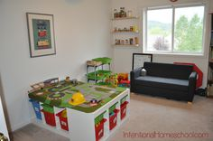 Our Schoolroom 2013/2014--love this idea for the train table.... thinking under a bunk bed for the future
