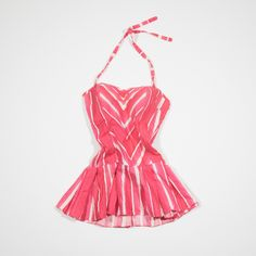 ✦ CLICK TO BUY ✦ 50s swimsuit in pink and white cotton - Costume anni '50