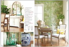 Idea for wall painting in dining room around windows looking out onto garden. Calming and understated. Consider having a mirror over the sideboard to reflect real garden through windows. . Also like the Swedish furniture look. As seem in Wisteria catalog 2/2017 page 57.