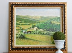 Beautiful vintage canvas on oil with bold greens and gorgeous frame!