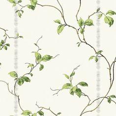 Papel de parede Decoração Folhas Origini 141-42 , Wallpaper, Importado, Lavável, Superfície lisa, Bege e tons de Verde