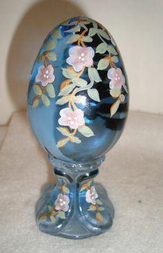 Fenton Ice Blue Hand Painted Egg