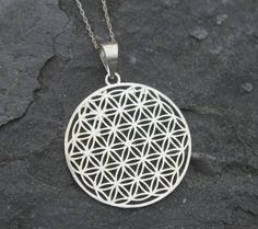 Flower of Life Necklace Silver Flower of Life by TherapyStonesOne