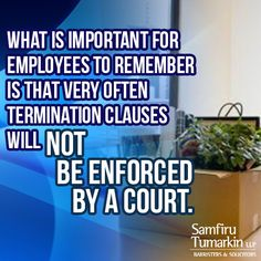 In the last decade, it has become extremely common for employers to have their new or current employees sign employment contracts. One of the biggest reasons that employers do this is to try and limit how much severance they will have to pay to their employees when they terminate them. What is important for employees to remember is that very often those termination clauses will not be enforced by a court.  Find out more about employment law and employee rights at: http://stlawyers.ca/3771-2/