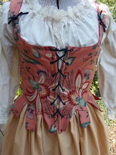 18th Century Red/ Floral Reversable Jumps and by theravenandrose
