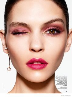 Kate Bogucharskaia for Allure RussiaMarch 2015 by Jason Kim | A red-hued eyeshadow and lip shade proves red is in this season.