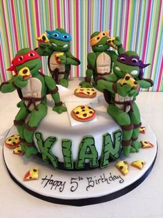 TMNT Cake - For all your cake decorating supplies, please visit… Ninja Turtle Birthday Cake, Turtle Party, 5th Birthday, Birthday Cakes, Birthday Ideas, Tmnt Cake, Ninja Cake, Lego Cake, Minecraft Cake