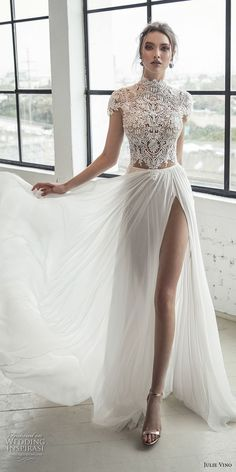 julie vino 2019 romanzo bridal cap sleeves high neck heavily embellished bodice high slit romantic soft a line wedding dress chapel train #wedding #love #whitedress #bride