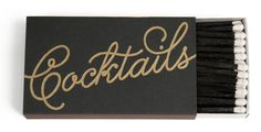 Pour a fancy cocktail and light some candles with these elegant matches from The Social Type. A sophisticated black matchbox with gold foil lettering just begs to be paired with a make your own Martini bar.