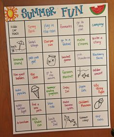 Summer bucket list - use full sheet of poster board and simple writing/pics for learning readers. I'd have to limit it to just one per day!