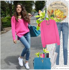Blogger Style: Casual Spring Look por k-hearts-a con mid-rise jeansClosed vneck sweater / Current/Elliott mid-rise jeans, $130 / Converse white trainers / Yves Saint Laurent yves saint laurent tote, $1,660 / Alexis Bittar  necklace