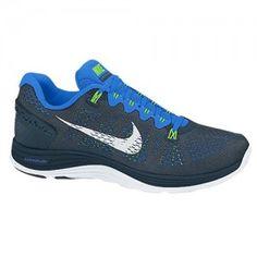 sale retailer 28687 25eb4 Chaussures Nike Lunarglide+ 5 pour courir Homme Arsenal Bleu Marine  Blanc   Bleu  Flash Vert prix