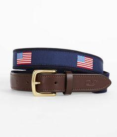 Men's Club Belts: New American Flags Canvas Belt - Vineyard Vines