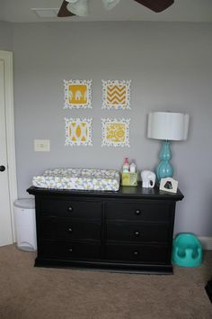 Grey, Yellow and Teal Nursery (Gender Neutral). Could easily be changed to Pink and white accents for a girl.