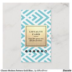 Classic Modern Pattern Gold Blue Loyalty Vertical Business Card - commercial office interior o Vertical Business Cards, Photography Business, Office Interiors, Loyalty, Wedding Planner, Stationery, Classic Gold, Modern, Pattern