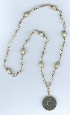 Courageous Copper and Faceted Mother-of-Pearl Necklace