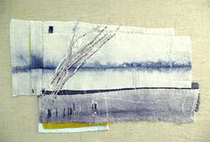 Mounting onto a boxed frame or block of wood Collages, Collage Art, Textile Fiber Art, Textile Artists, Creative Textiles, Textiles Techniques, Contemporary Embroidery, Sewing Art, Fabric Art