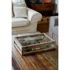 Rustic Rattan French Glass Box L