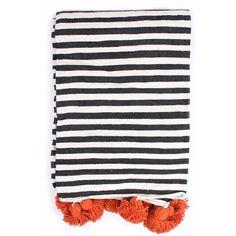 Bohemia - Orange Cotton Stripe Pom Pom Blanket (9,555 MKD) ❤ liked on Polyvore featuring home, bed & bath, bedding, blankets, throws, woven throw blanket, woven cotton throw blanket, cotton throw, cotton blanket and handmade blankets