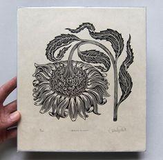 Bowing Flower Woodcut Print by Tugboat Printshop