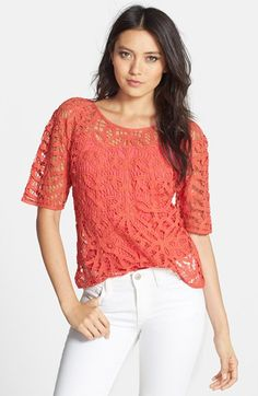 Love the color - crazy about coral this year.  Hinge  'Battenburg' Crochet Top available at #Nordstrom
