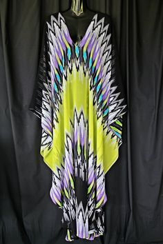100 silk chiffon Full Length Tribal Print Kaftan by MollyKaftans, $169.00