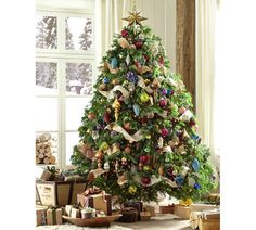 Jewel Tone Themed Christmas Treee | Pottery Barn