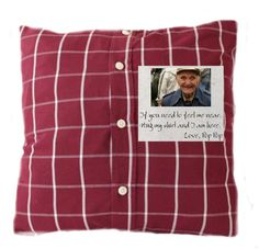 Custom Memory Pillow Made From Your Loved One& Shirt--Add Handwriting and Images! Old Shirts, Dad To Be Shirts, Sewing Hacks, Sewing Crafts, Quilting Projects, Sewing Projects, Memory Pillows, Memory Quilts, Memory Pillow From Shirt