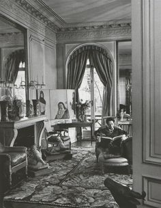 The Grand Salon of Elsa Schiaparelli's eighteen-room apartment on rue de Berri, Paris, exhibits a folding screen commissioned from Christian Berard. Photo:Hans Wild, The Life Picture Collectiion/Getty Images