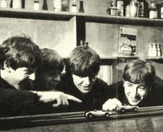 The Beatles with some slot cars