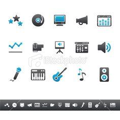 Music  Sound Equipment | Blue Grey Royalty Free Stock Vector Art Illustration