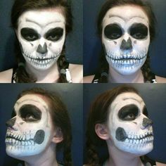 This is the skeleton makeup I did for Halloween, although it's a simple design I didn't use any tutorials. I actually looked up pictures of skulls and went from there. I consider this my first major makeup using both cream and grease makeup for the look.