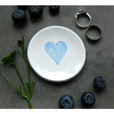 Blue Heart Ceramic Ring Dish Custom Plate Clouds Love White Pottery... (€11) ❤ liked on Polyvore featuring home, home decor and jewelry storage
