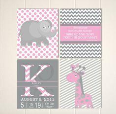 Baby girl nursery, pink grey nursery art, elephant nursery, giraffe, baby monogram, nursery quote wall art, set of 4 by PicabooArtStudio, $28.00