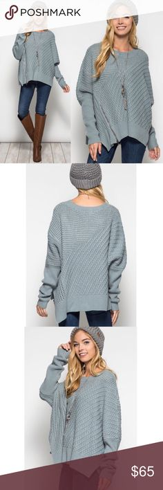 """EMIKO long sleeve oversize sweater Long sleeve oversized sweater w/front side zipper detail. Oversized, slouchy   🚨ONE SIZE: fits S-L🚨  Material content: 65%COTTON 35% soft ACRYLIC   *MODEL IS 5'7"""". Loose knit sweater.   🚨🚨🚨NO TRADE 🚨🚨  🚨🚨PRICE FIRM🚨🚨 Bellanblue Sweaters"""